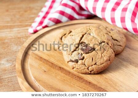 Foto stock: Cookies · escritorio · oscuro · mesa · de · madera · leche · imagen