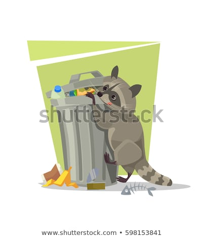 Vector flat style illustration of trash with raccoon. Spoiled fo Stock photo © curiosity