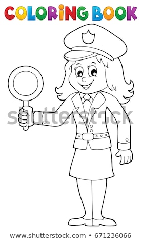 Coloring book policewoman image 1 Stock photo © clairev
