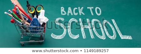 Przybory szkolne tekst zielone różny jabłko owoców Zdjęcia stock © wavebreak_media