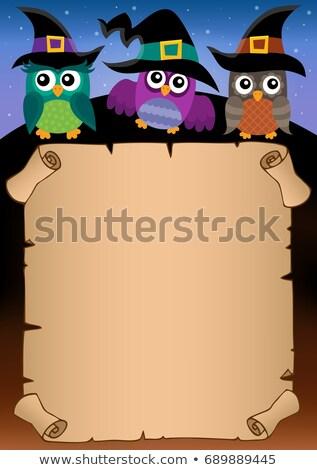 Halloween pergamino búhos papel aves animales Foto stock © clairev