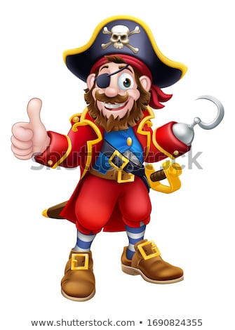 Cartoon Pirate Skull and Crossbones Thumbs Up Stock photo © Krisdog