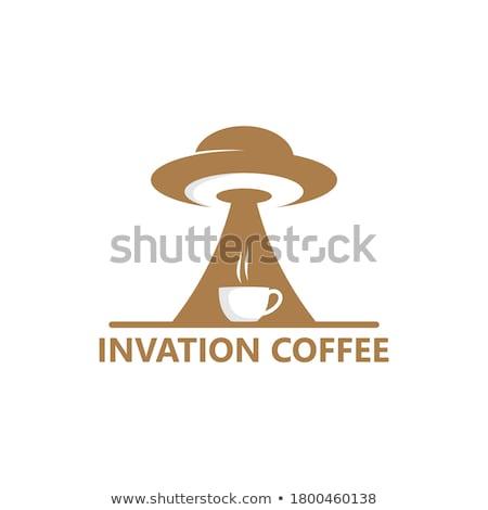 Koffie invasie wereldkaart koffiebonen tonen Stockfoto © Fisher
