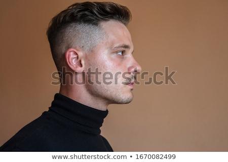 красивый мужчина темно человека счастливым фон портрет Сток-фото © Elnur