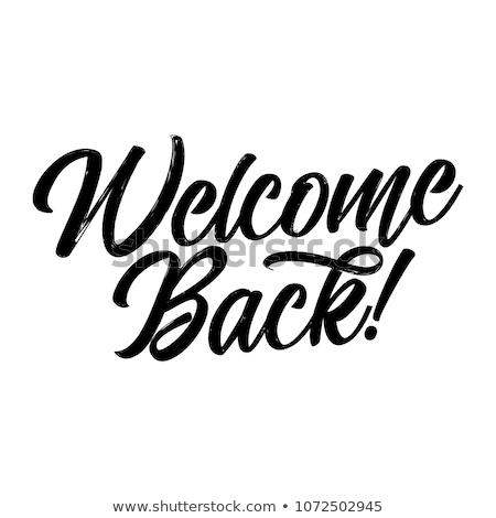 Bienvenue · tableau · noir · blanche · craie · écriture · gomme - photo stock © sonya_illustrations