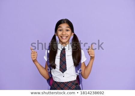 tinilány · kéz · felfelé · mosolyog · lány · kezek - stock fotó © deandrobot
