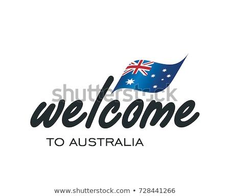 Rot Stempel weiß willkommen Australien Design Stock foto © Zerbor