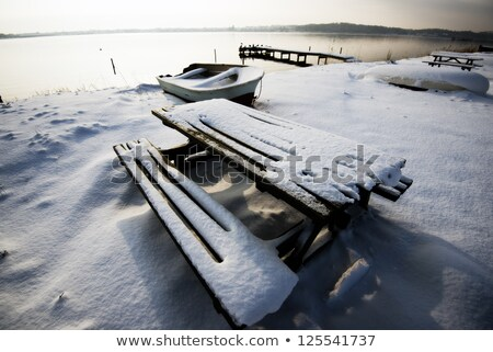 Little  table covered with powder snow Stock photo © ivelin