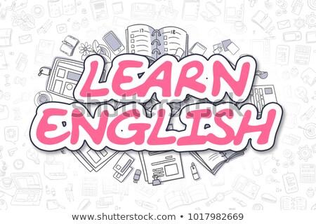 Aprender inglês desenho animado magenta texto negócio Foto stock © tashatuvango