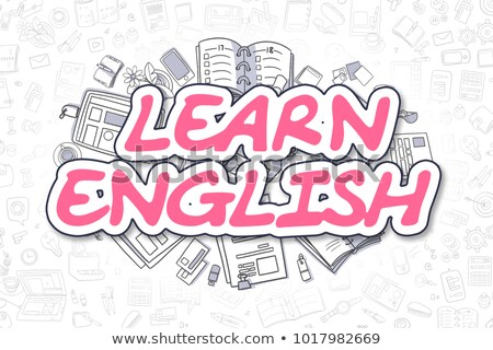 learn english   cartoon magenta text business concept stock photo © tashatuvango