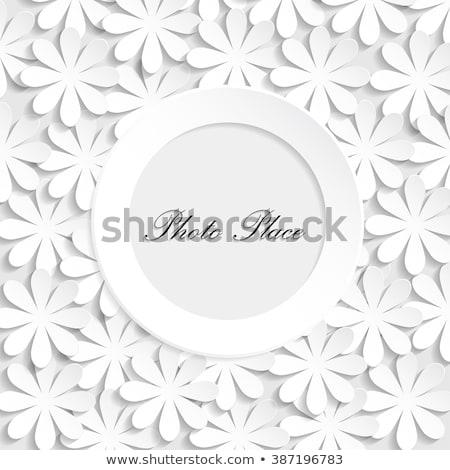 paper  cut flowers on wooden background Stock photo © balasoiu