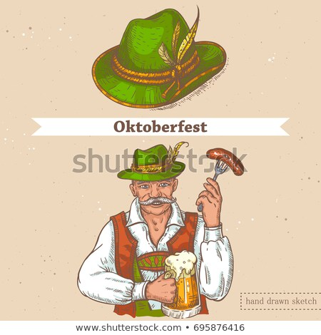 Beer set for Octoberfest. Vintage sketch and old paper texture. Vector illustration. Stock photo © FoxysGraphic
