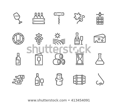 glass of wine vector line icon stock photo © rastudio