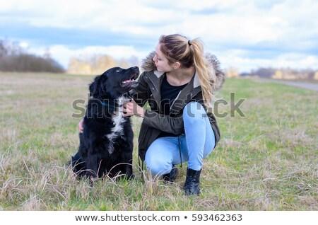 Fiatal nő térdel átkarol kutya jókedv piros Stock fotó © IS2