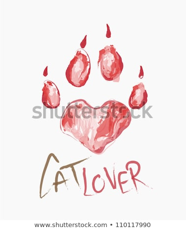 I Love With Red Heart Paw Print With Claws And Dog Silhouette Logo Design Stock photo © hittoon