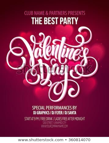 Vector valentijnsdag partij flyer ontwerp typografie Stockfoto © articular