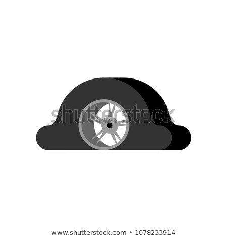 Flat tire isolated. Torn wheel car. Vector illustration Stock photo © MaryValery