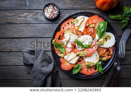 Paradicsom saláta mozzarella étel háttér nyár Stock fotó © M-studio
