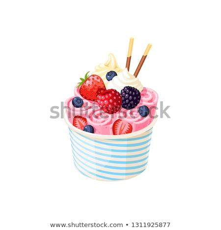 フルーツ · アイスクリーム · ボウル · 画像 · ヴィンテージ · 食品 - ストックフォト © karandaev