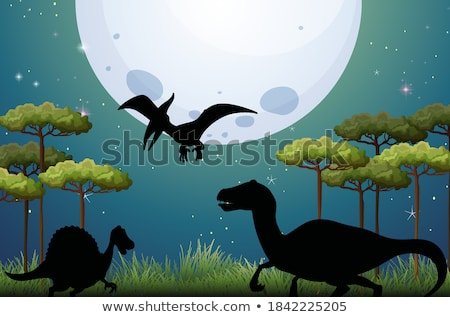 A set of dinosaur and moonlight Stock photo © bluering