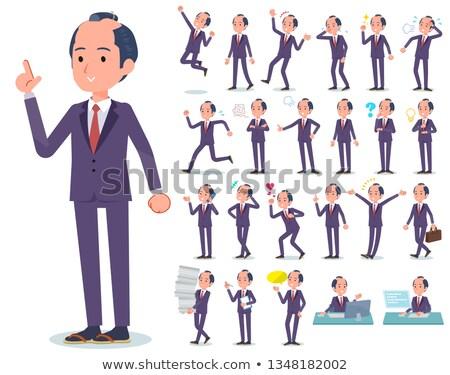 boldog · munka · illusztráció · rajz · szomorú · kereskedő - stock fotó © toyotoyo