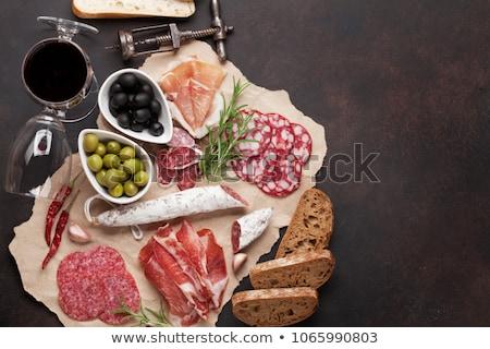 Salchicha salami pan alimentos fondo desayuno Foto stock © M-studio