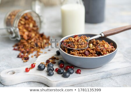 fresh milk with homemade honey granola and natural organic ingredients   berries nuts and mint in t stock photo © artjazz