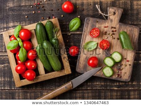 ストックフォト: オーガニック · トマト · 胡瓜 · バジル · リネン · タオル