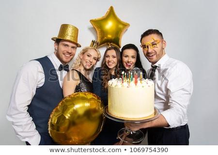 gelukkig · paar · partij · verjaardag · viering - stockfoto © dolgachov