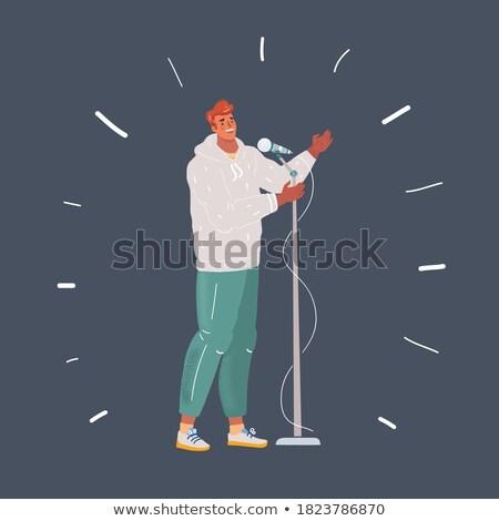 bel · homme · chanter · chanson · illustration · fête · visage - photo stock © pikepicture