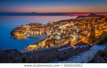 Dubrovnik city walls aerial evening view Stock photo © xbrchx