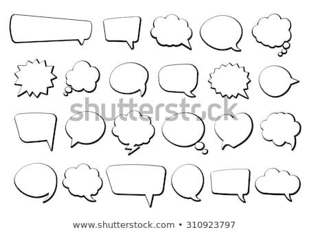 chat · buborék · vonal · skicc · vektor · felirat · lineáris - stock fotó © barbaliss