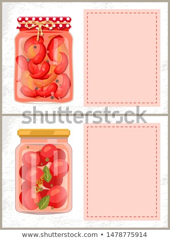 Preserved Food Poster Cooked Pickled Pepper Tomatoes Stock photo © robuart