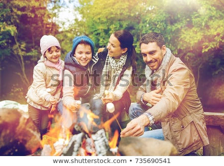 Famiglia felice marshmallow camping viaggio turismo Foto d'archivio © dolgachov
