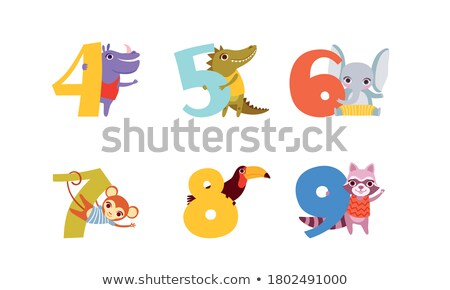 Happy birthday with monkey and number seven Stock photo © colematt
