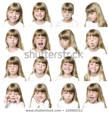 Kislány arckifejezés illusztráció lány gyermek diák Stock fotó © colematt