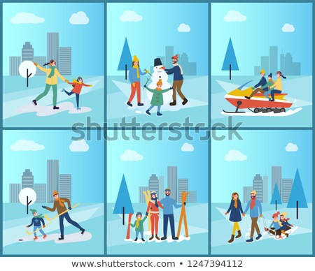 Stock photo: Winter Activities, Skiing Skating on Rink Vector