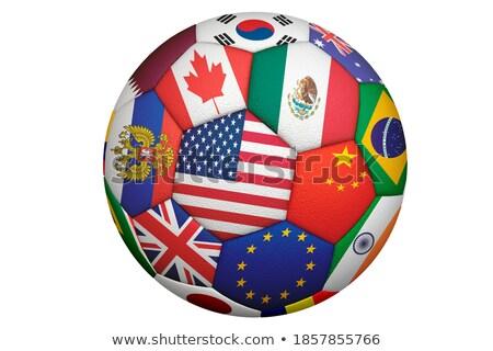 soccer ball Mexico USA Canada flags design 3d-illustration Stock photo © Wetzkaz