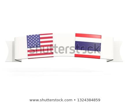 Bandeira dois praça bandeiras Estados Unidos Tailândia Foto stock © MikhailMishchenko