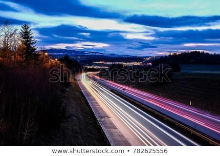 Longa exposição montanhas noite casas primeiro plano Foto stock © frimufilms