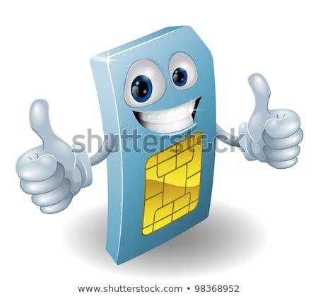 telefonu · komórkowego · karty · maskotka · tożsamości · moduł · ręce - zdjęcia stock © krisdog