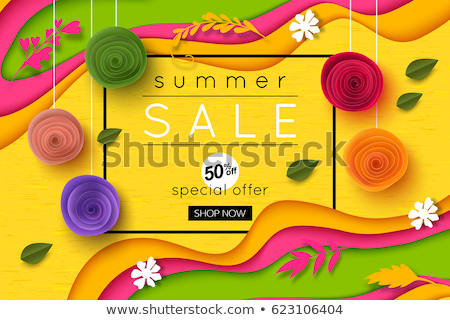 Shopping Label with Flowers Origami, Offer Vector Foto stock © robuart