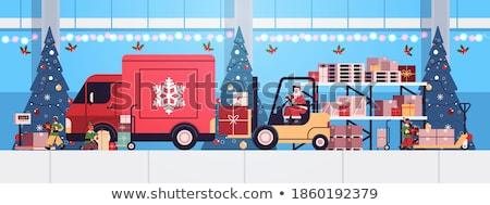gelukkig · nieuwjaar · vrolijk · christmas · poster · elf - stockfoto © robuart