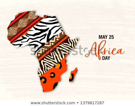May 25 Africa Day card of tribal art african map Stock photo © cienpies