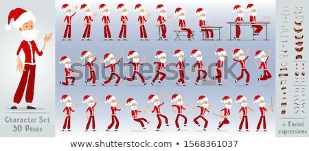 Afbeelding vrolijk man 30s kerstman kostuum Stockfoto © deandrobot