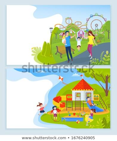 Játszótér park gyerekek weboldal szöveg szett Stock fotó © robuart