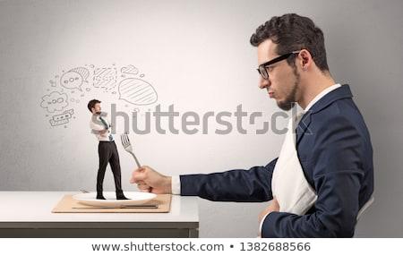 Biznesmen jeść mały człowiek duży Chmura Zdjęcia stock © ra2studio