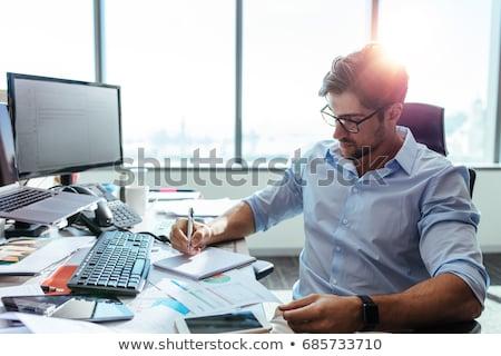 Kantoorwerk man werkplek schrijven papieren vector Stockfoto © robuart