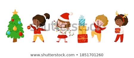 little girl in santa costume with bulb stock photo © nyul