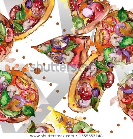 włoski · pizza · pomidorów · kiełbasa · grzyby · internetowych - zdjęcia stock © netkov1